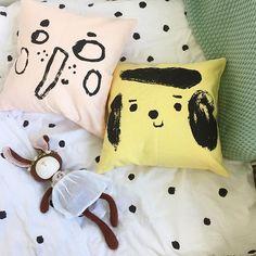h a p p y  s u n d a y ✨#hazelvillage #newborn #nurserygift #zoe #rabbit #bedding #dots #softtoy #finelittleday #cushion #pillow #pastel #yellow #powder #organic #kidsroom #kraamcadeau