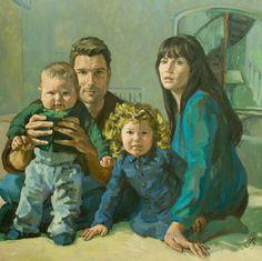 Portret van Nick Schilder en zijn gezin van Irma Braat