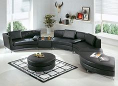 Amazon.com: Contemporary Furniture Black Leather Curved Sectional Sofa with…