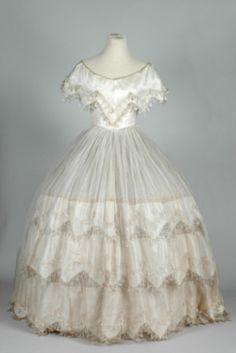 "ephemeral-elegance: "" Evening Dress, ca. 1855-60 """