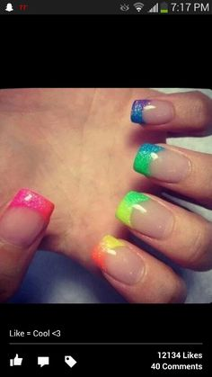 French tip rainbow nails