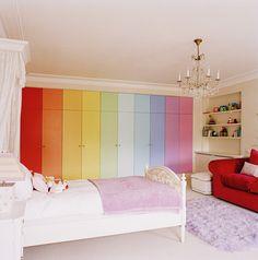 Interior Designer: Camilla Ashforth (Would be cute for a nursery!) Home Bedroom, Girls Bedroom, Bedroom Decor, Bedroom Ideas, Rainbow Bedroom, Rainbow Nursery, Rainbow Room Kids, Rainbow House, Rainbow Wall