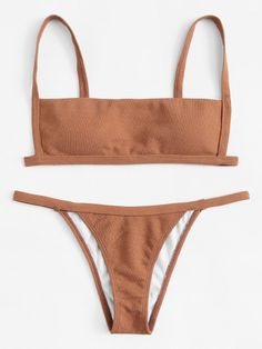 To find out about the Rib Cami Tanga Bikini Swimsuit at SHEIN, part of our latest Bikini Sets ready to shop online today! Swimwear Fashion, Bikini Swimwear, Bikini Tops, Bikini Fashion, Bandeau Bikini, Cute Swimsuits, Cute Bikinis, Modest Swimsuits, Cami Tops