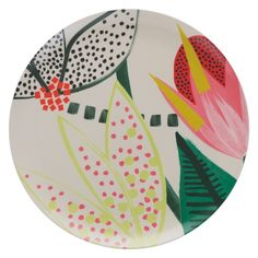 JOELLE Patterned melamine dinner plate 27cm