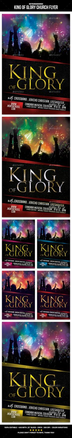 King of Glory Church Flyer by SetsunaSensei King of Glory Church FlyerThis flyer is perfect for promoting your church concert. FeaturesFlyers size is 46 with .25 bleeds, CMY