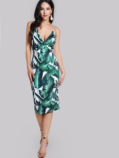 Tropical Print Spaghetti Strap Deep V Neck Backless Fitted Pencil Bodycon Dress | eBay