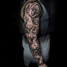 Religious Guys Lion Full Sleeve Tattoos