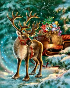 Rudolph,the Red-nosed reindeer, had a very shiny nose. And if you ever saw him, you would even say it glows. All of the other reindeer used to laugh and call him names. They never let poor Rudolph play in any reindeer games. Christmas Scenes, Christmas Deer, Christmas Animals, Christmas Past, Vintage Christmas Cards, Christmas Greetings, Winter Christmas, Christmas Stockings, Christmas Canvas