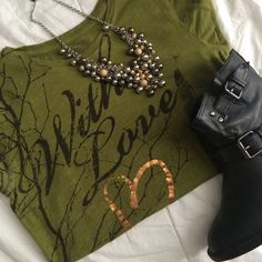 Army green tee Army green tee with longer length - size L but fits M/L Mudd Tops Tees - Short Sleeve
