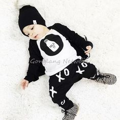 Black&White Baby Boys Toddler 2PCS Set Cute T-shirt Top +OX Pants Outfits 0-24M #Unbranded #Casual