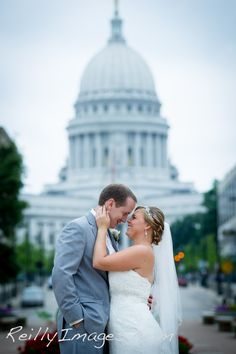 Iconic Wedding Photo with the Wisconsin State Capitol
