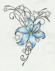 Blue flower with stars
