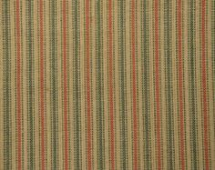 Ticking Fabric | Stripe Fabric  | Homespun Fabric  |  Primitive Fabric | Cotton Rag Quilt Fabric | Holiday Fabric | Red And Green Ticking