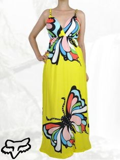Yellow Butterfly Print Maxi Dress