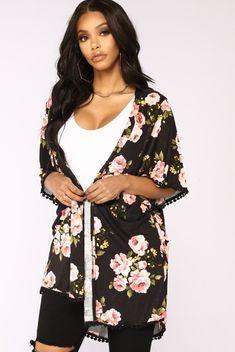 Pop Pom Pretty Kimono - Black