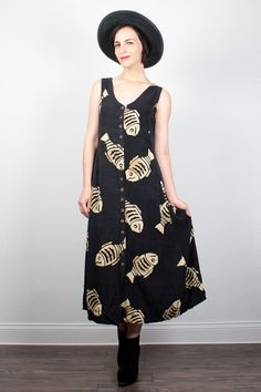 Vintage Boho Dress 1990s Dress Midi Dress Babydoll Dress Black Tan Fish Print Sundress Bohemian Dress 90s Dress Soft Grunge Dress M L Large by ShopTwitchVintage #1990s #90s #etsy #vintage #boho #bohemian #hippie #softgrunge #soft #grunge #midi #dress #sundress