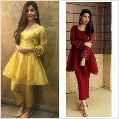 Who looks better in this dress ? I guess Mawra Is looking better than Mahira khan this time😉😯☺☺ Pakistani Fashion Casual, Pakistani Dress Design, Muslim Fashion, Pakistani Dresses, Indian Dresses, Indian Outfits, Indian Fashion, Stylish Dresses For Girls, Casual Dresses
