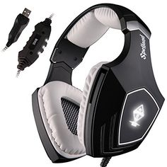 SADES PC Over Ear Gaming Headset Surround Sound Stereo USB gaming Headphones with Microphone Noise Cancelling Volume Control Flashing LED Light (Black+White) Best Gaming Headset, Gaming Headphones, Headphones With Microphone, Best Pc Games, Gaming Accessories, Game Sales, Surround Sound, Earmuffs, Logitech