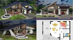 Architect Gabriel Georgescu presented to the world the great design of the Storey House The house architecture is reach with elements making the structure dynamic, playful and beautiful. Modern Small House Design, Minimalist House Design, Rest House, House In The Woods, House Construction Plan, Village House Design, My House Plans, Cute House, Mansions Homes