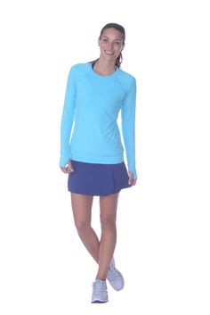 Loose fit shirt has a wide waistband for comfort, thumbholes for hand protection and ruched back design. Upf Clothing, Crew Neck, Pullover, Fitness, Shirts, Clothes, Tops, Dresses, Design