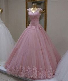 Long Prom Dress,Ball Gown Appliques Prom Dresses,Tulle Prom Dress,Pink Quinceanera Dress,Formal Dress A-Line Grey Stain High Split Prom Dresses With Pocket Prom Dresses Long Pink, Elegant Prom Dresses, Long Prom Gowns, Sweet 16 Dresses, Cheap Bridesmaid Dresses, Tulle Prom Dress, Pretty Dresses, Dress Formal, Formal Prom