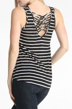 Stripe Criss Cross Top