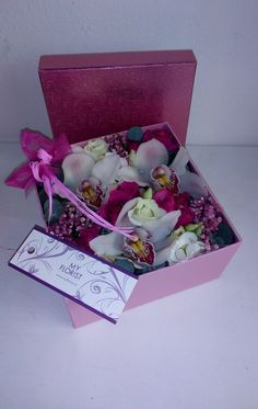 Flower box with cymbidium, gypsophilla, roses, eustoma Flower Boxes, Fresh Flowers, Container, Roses, Presents, Window Boxes, Gifts, Pink, Planter Boxes