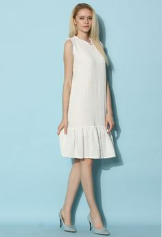 Simple White Ruffled Dress - New Arrivals - Retro, Indie and Unique Fashion
