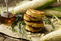 National Honey Board Recipe: Double Corn and Honey Fritters with Honey-Bacon Drizzle