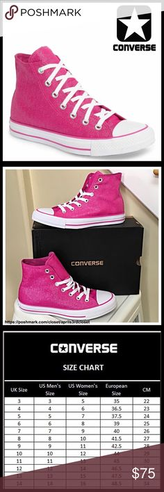 ⭐️⭐️ CONVERSE SNEAKERS Stylish Shimmer High Tops CONVERSE SNEAKERS Stylish Shimmer High Tops *NEW IN BOX* AUTHENTIC * SIZING-Women's Sizes  COLOR- Pink , white    * Round rubber cap toe * Lace-up closure * Contrast stitching  * Lightly padded footbed & textured grip sole * Allover shimmering glamorous canvas construction MATERIAL Textile upper, textile, rubber sole  ❌NO TRADES❌ ✅BUNDLE DISCOUNTS✅ OFFERS CONSIDERED ITEM# SEARCH #  All Star Hi Top Chuck Taylor flatform wedge glam flatform…