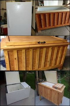 What do you think of this old fridge turned into a cooler - Trash or Treasure? Outdoor Cooler, Trash To Treasure, Outdoor Living, Outdoor Decor, Do It Yourself Projects, Southern Homes, Wood Storage, Wood Crafts, Wood Projects