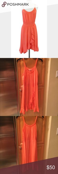 Rebecca Taylor coral ruffle dress size 0 Gorgeous coral lightweight silk dress perfect for summer! Rebecca Taylor. Size 0. Please see the last pic for a slight imperfection. Rebecca Taylor Dresses