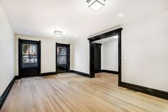 Brooklyn Apartments for Rent in Bedford Stuyesant at 588 Madison Street Brooklyn Apartments for Rent in Bedford Stuyesant at 588 Madison Street Brooklyn Apartments For Rent, Black Trim Interior, Black Window Trims, Moldings And Trim, Black Molding, House Trim, Dark Interiors, Black Doors, My New Room