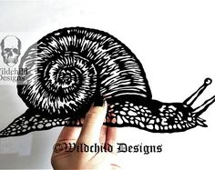 Snail Paper Cutting Template for Personal and Commercial Use Papercut Cut by Wildchild Designs Animal Slug Shell