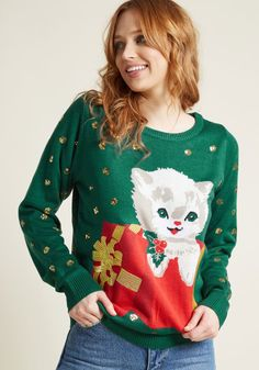 Guess Who's Cheer! Holiday Sweater - A surprise appearance from a relative, pal, or furry friend is always a gift, and this forest green sweater puts that concept on charming display! Boasting an intarsia kitten, metallic gold embroidery, and clusters of sparkly sequins all over, this fiercely festive knit will bring an element of amazement to all your holiday extravaganzas.