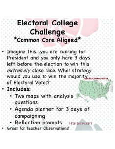 **Common Core Aligned** Imagine thisyou are running for President and you only have 3 days left before the election to win this extremely close race. What strategy would you use to win the majority of Electoral Votes?Includes:*Two maps with analysis questions*Agenda planner for 3 days of campaigning *Reflection prompts *Democratic and Republican Scenarios Great for Teacher Observations!*Background cover image courtesy of sarahhearts.com