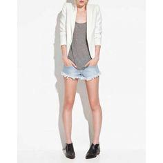 White Notch Lapel Zipper Nine'S Sleeve Polyester Suit Blazer And Shorts, Blazer Jacket, Blazer Suit, Suits For Sale, Suits For Women, Jackets For Women, Mode Mantel, Zara, Slim Suit
