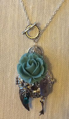 Silver Blue Rose Essential Oil Diffuser Necklace