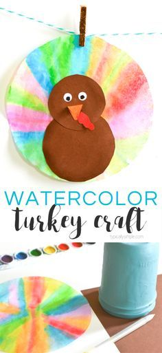 With just a few supplies, these watercolor coffee filter turkeys are a fun Thanksgiving craft to make with the kids. Hang around the house as some cute Thanksgiving decorations! They would look really pretty hanging in a window because the watercolors give them a sun catcher type of look! #kidscraft #turkeycraft