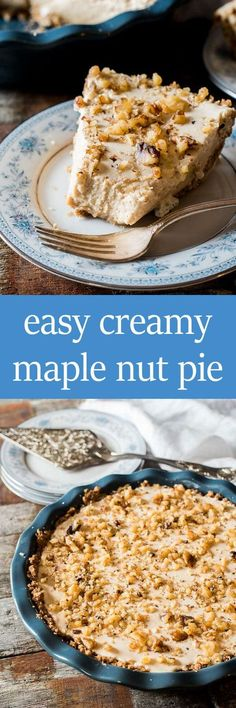 Maple syrup takes center stage in this no-bake, easy creamy maple nut pie. This classic Amish pie recipe tastes like melted ice cream topped with walnuts. #maplesyrup #pie #recipe