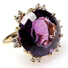 Rosamaria G Frangini | High Purple Jewellery | Vintage Estate Natural Amethyst & Diamond Cocktail Ring Solid 18K Gold