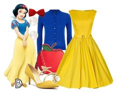 1950's: Snow White by leslieakay on Polyvore featuring polyvore, fashion, style, Paul Smith Black Label, Sole Society, Accessorize, Banana Republic, disney, disneybound and disneycharacter