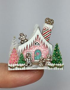 OOAK Miniature Dollhouse Christmas Putz Gingerbread Cottage House   | eBay