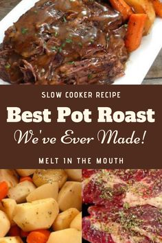 The Best Slow Cooker Pot Roast Ive Ever Made! Crock Pot Baked Potatoes, Slow Cooker Potatoes, Slow Cooker Roast, Best Slow Cooker, Slow Cooker Recipes, Crockpot Recipes, Cooking Recipes, Cooking Ideas, Food Ideas