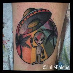 bowie alien tattoo by Julie Bolene