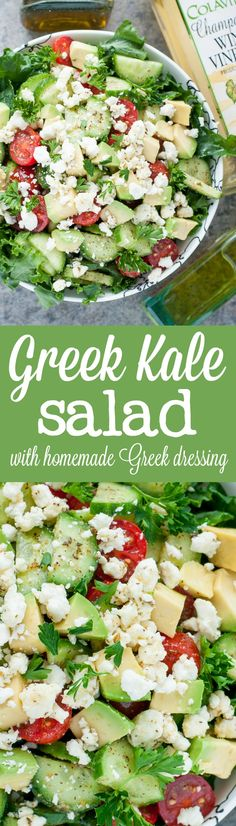 Chopped Greek Kale Salad - Wth a healthy homemade Greek dressing you'll want to put on everything!