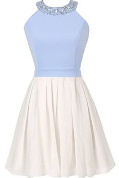 First Kiss Dress: Features a beautiful rhinestone-embellished neckline, baby blue top with pretty fitted waist, adorable bow decorating the backside, and a white skater-style skirt to finish.