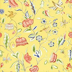 Ladybird #wallpaper in #yellow from the Spring Lake collection. #Thibaut