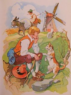 Grimms' Fairy Tales - Puss in Boots Full Colour Illustration (a)