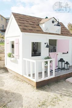 DIY Farmhouse Style Outdoor Kids Playhouse #playhousebuildingplans #playhouseideas #playhousediy #playhouseplans